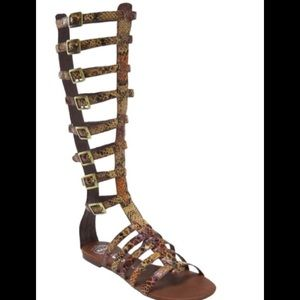 Brown Python Gladiator Sandal